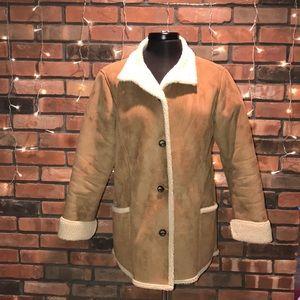 LL Bean Suede Texture Fleece Lined Winter Coat